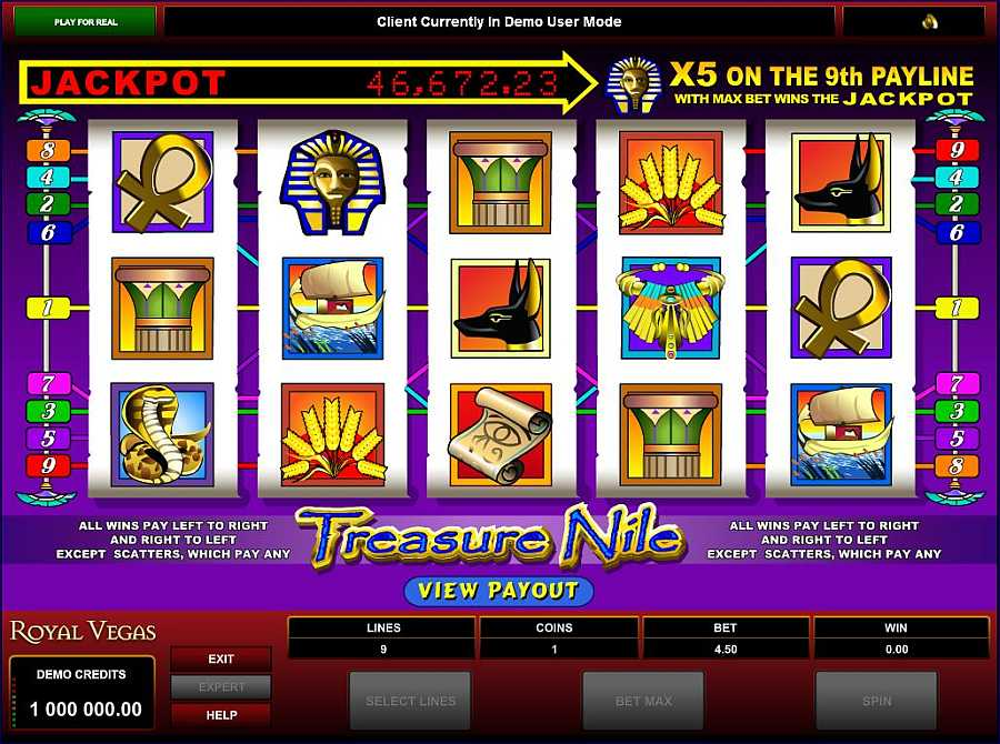 Treasure Nile Main Slot Screen