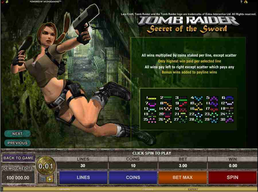 Tomb Raider II Winning Paylines