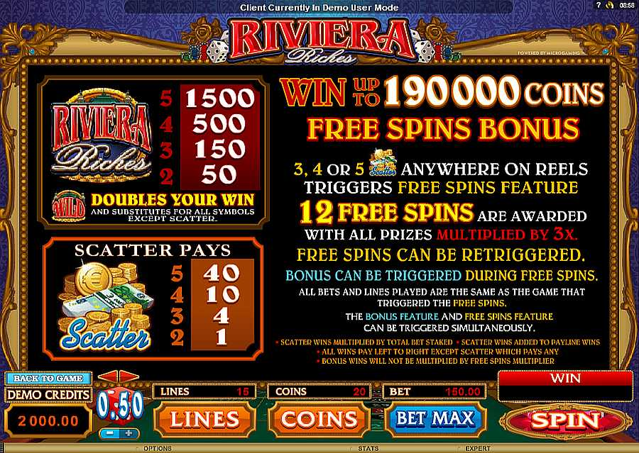 Riveria Riches Free Spins Feature