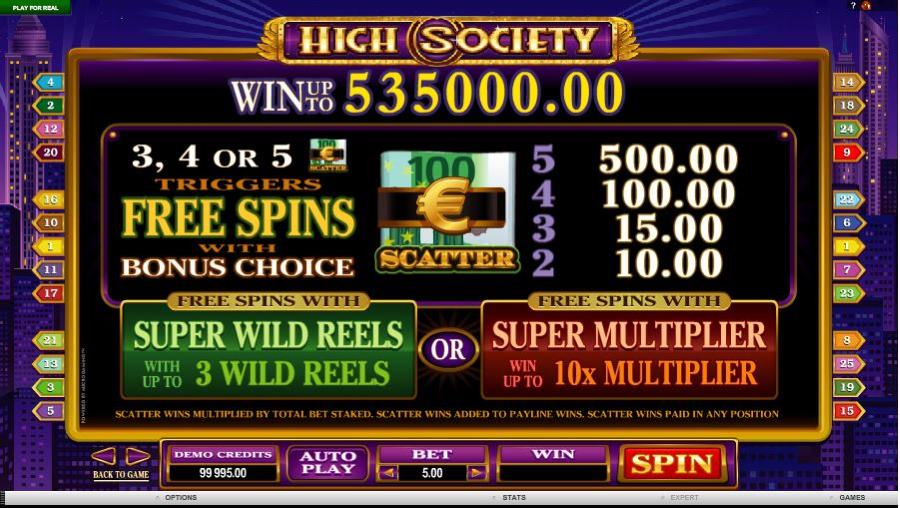 High Society Free Spins Feature