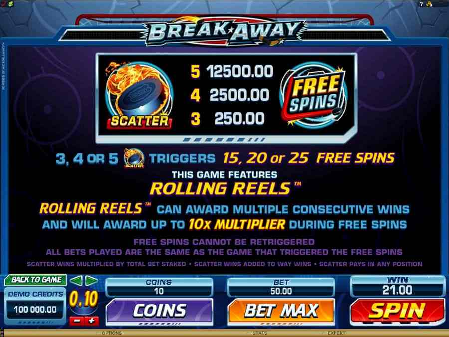 Break Away Free Spins Feature