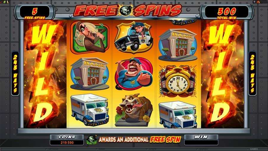 Bust the Bank Free Spins Screen