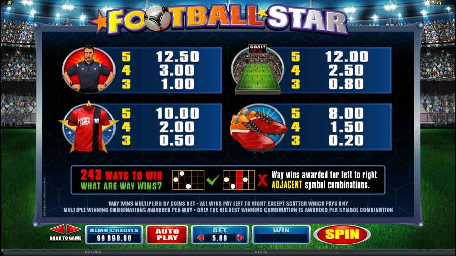 Football Star low Symbol Pay Lines