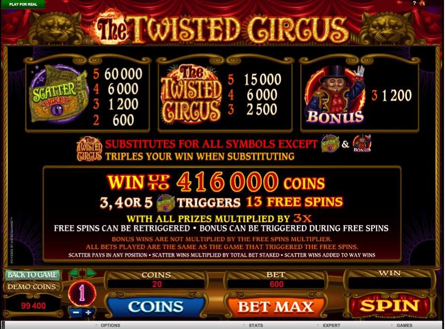 Twisted Circus Free Spins Feature