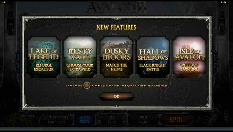 Avalon 2 New Features Screen