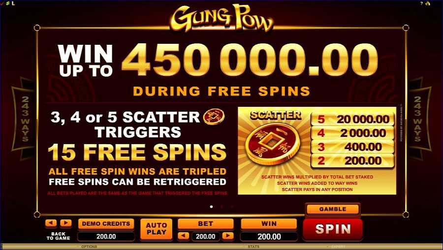 Gung Pow Scatter Triggers Free Spins