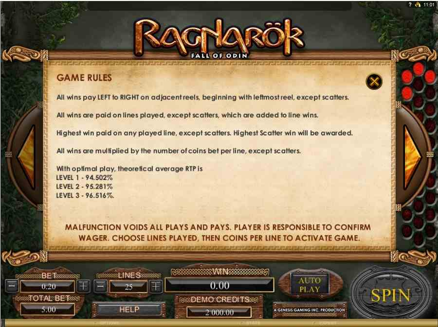 Ragnarok Fall of Odin Game Rules