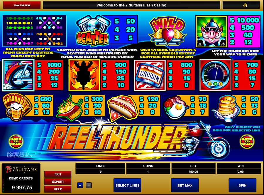 Reel Thunder Pay Table