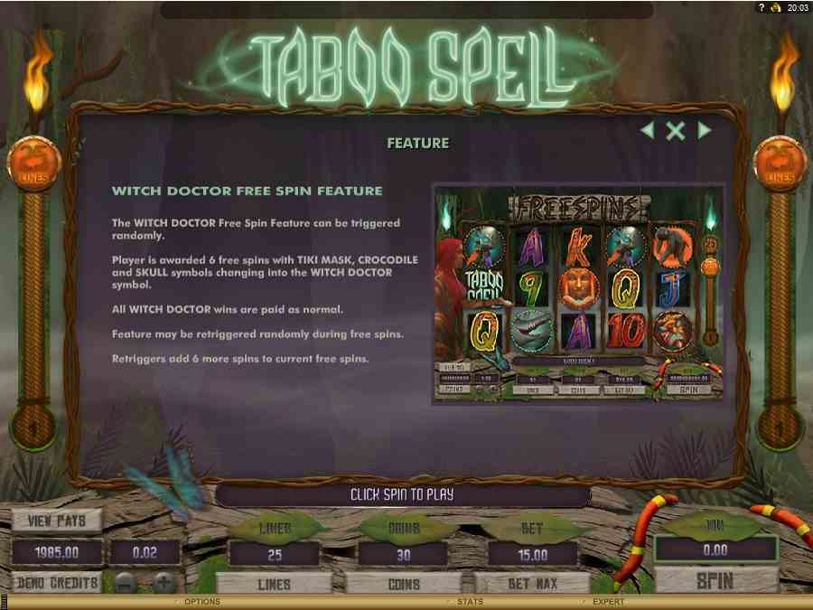 Taboo Spell Free Spins Feature