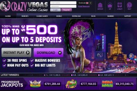 Crazy Vegas Casino 100% up to $500 + 30 free Spins