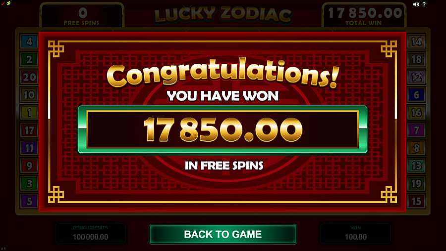 Lucky Zodiac Free Spins Winner