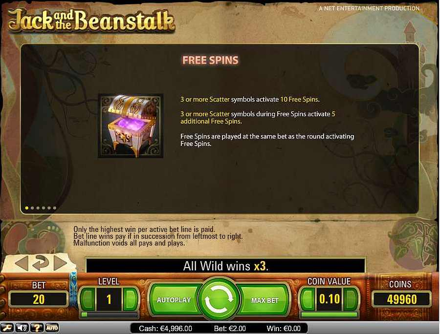 Jack and the Beanstalk Symbol Free Spins Table