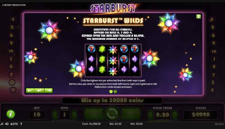 Starburst Slot Wilds Screen