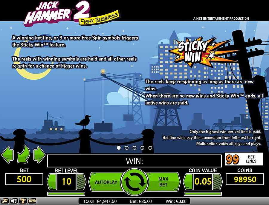 Jack Hammer 2 Sticky Win Feature