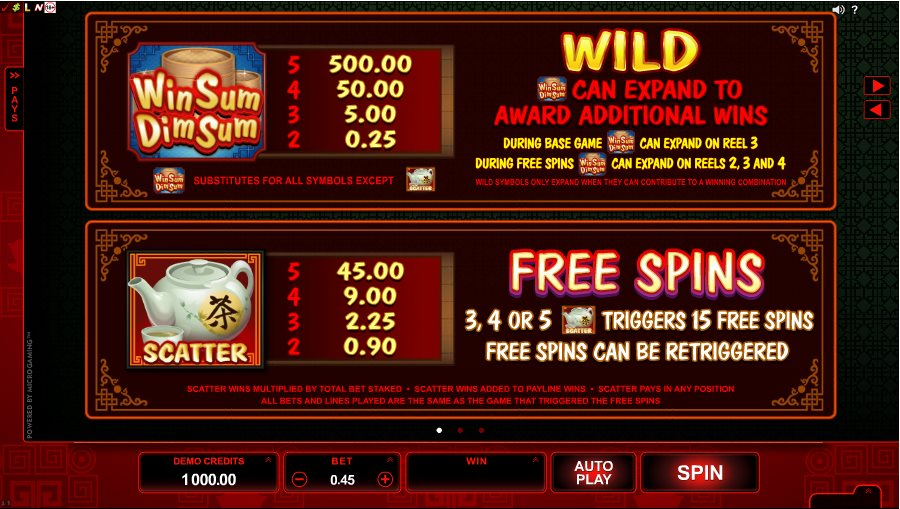 Win Sum Dim Sum Wild Free Spins Table