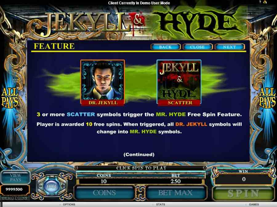 Jekyll and Hyde Feature Symbols Value