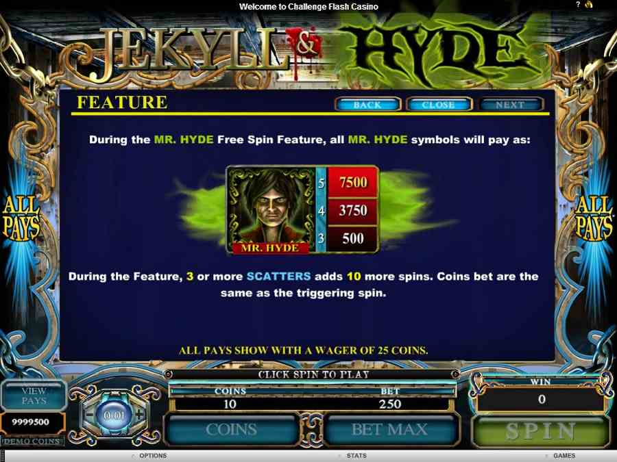 Jekyll and Hyde Free Spins Feature