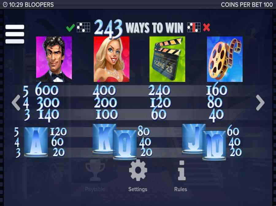 243 Way to Win Symbols Paytable