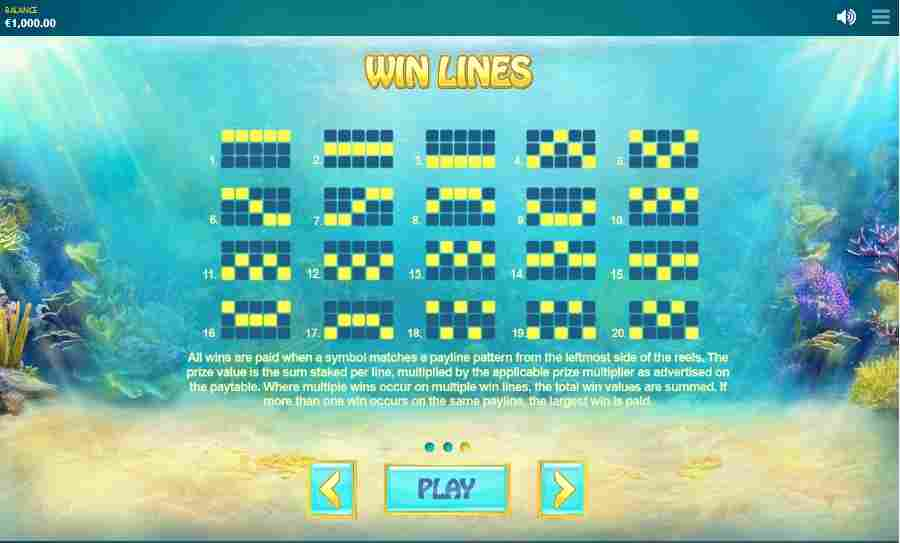 Ocean Fortune Winning Pay Lines