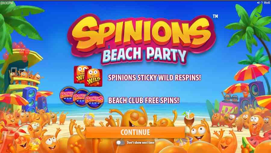 Spinions Beach Party Free Spins or Respins Screen