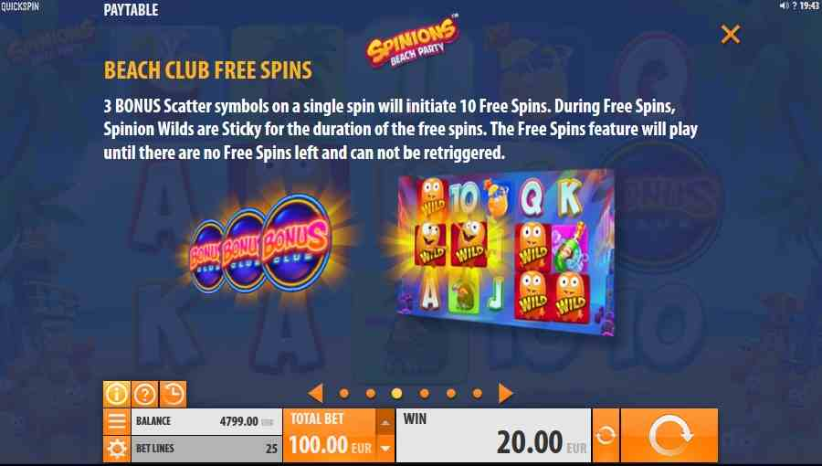 Spinions Beach Club Free Spins Feature