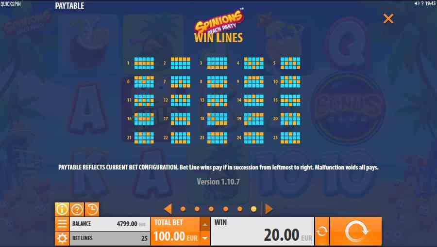 Spinions Win Lines Screen
