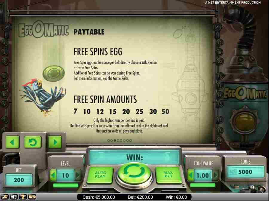 Free Spin Eggs Paytable