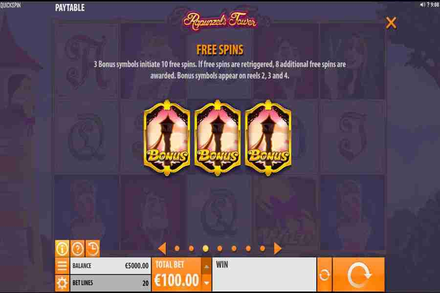 Rapunzel's Tower Bonus Free Spins