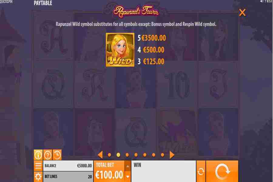 Rapunzel's Tower Wild Symbol Paytable