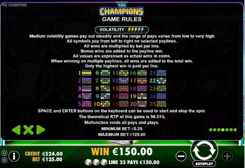 The Champions Symbols Paytable