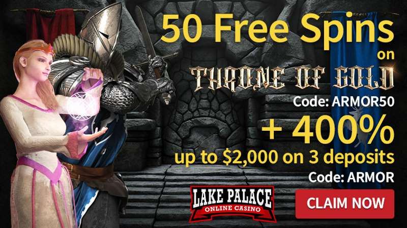 Lake Palace Casino 50 Free Spins On Throne Of Gold 400 Up To 2 000