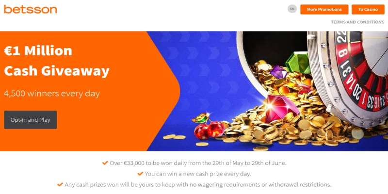 Betsson €1 Million Cash Drop